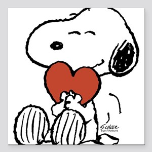 "Snoopy Hugs Heart Square Car Magnet 3"" x 3"""