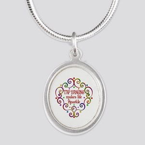 Tap Dancing Sparkles Silver Oval Necklace