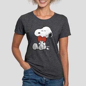 Snoopy Hugs Heart Womens Tri-blend T-Shirt