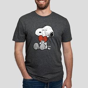 Snoopy Hugs Heart Mens Tri-blend T-Shirt