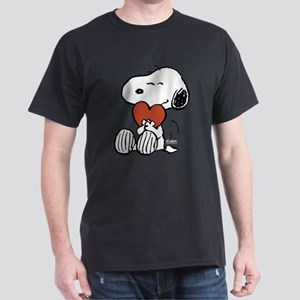 Snoopy Hugs Heart Dark T-Shirt