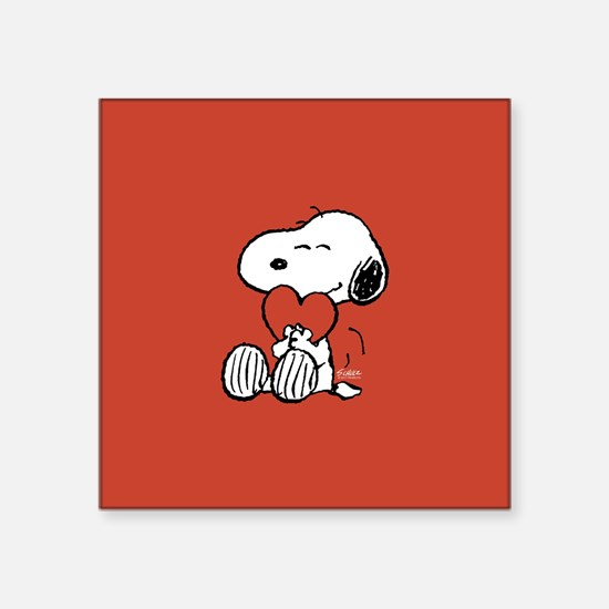 "Snoopy Hugs Heart Square Sticker 3"" x 3"""