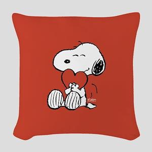 Snoopy Hugs Heart Woven Throw Pillow
