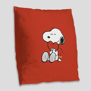 Snoopy Hugs Heart Burlap Throw Pillow