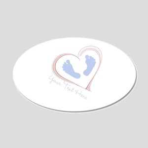 Your Text Here Baby Feet in Heart Wall Decal