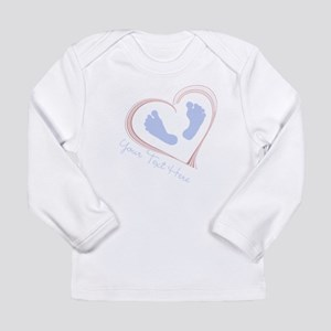 Your Text Here Baby Feet in Heart Long Sleeve T-Sh