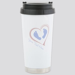 Your Text Here Baby Feet in Heart Travel Mug