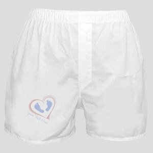 Your Text Here Baby Feet in Heart Boxer Shorts