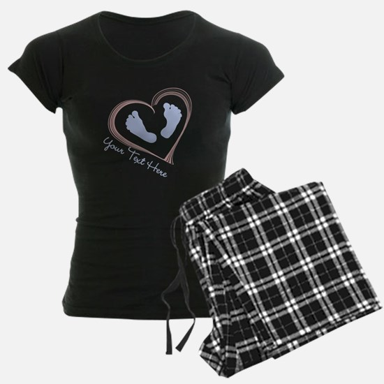 Your Text Here Baby Feet in Heart Pajamas
