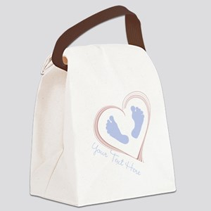 Your Text Here Baby Feet in Heart Canvas Lunch Bag