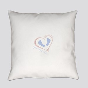 Your Text Here Baby Feet in Heart Everyday Pillow