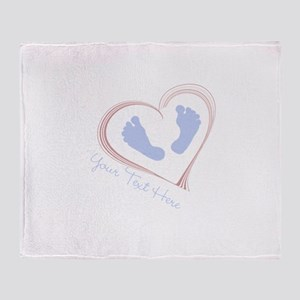 Your Text Here Baby Feet in Heart Throw Blanket