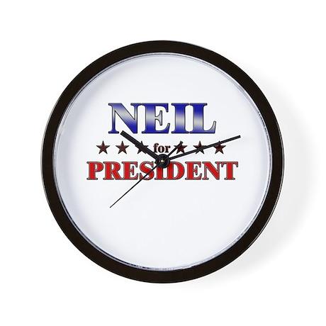 NEIL for president Wall Clock