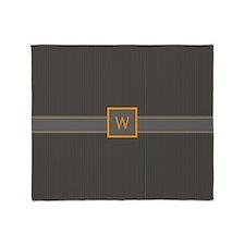 Gray and Orange Pinstripes Throw Blanket