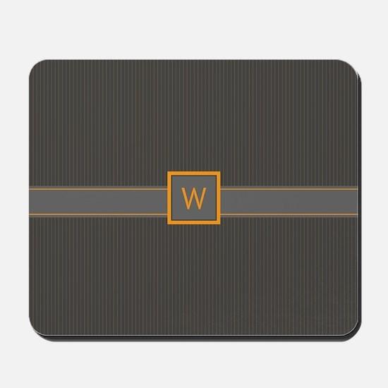 Gray and Orange Pinstripes Mousepad