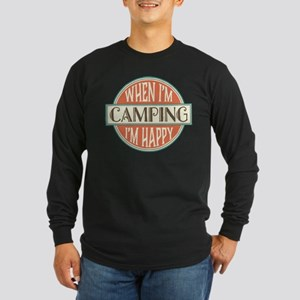 Camping Happy Long Sleeve Dark T-Shirt