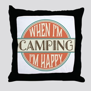 Camping Happy Throw Pillow