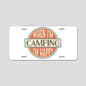 Camping Happy Aluminum License Plate