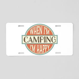 Camping Happy Aluminum License Plate