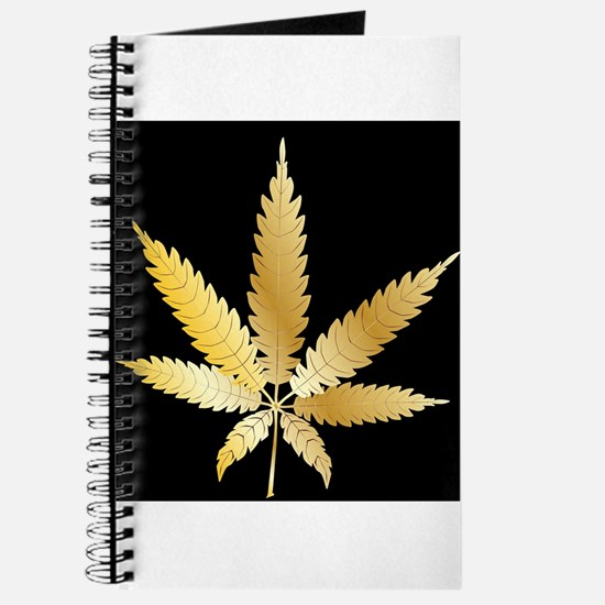 Gold Cannabis Leaf Journal
