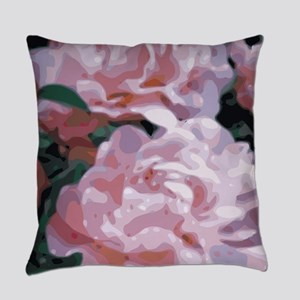 Pink Peonies Floral Vector Art Everyday Pillow