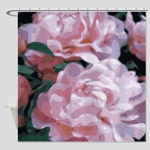 Pink Peonies Floral Vector Art Shower Curtain