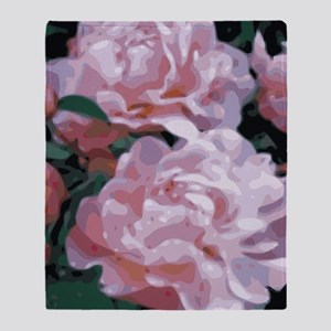 Pink Peonies Floral Vector Art Throw Blanket