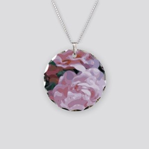 Pink Peonies Floral Vector Art Necklace