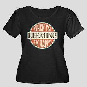 happy de Women's Plus Size Scoop Neck Dark T-Shirt