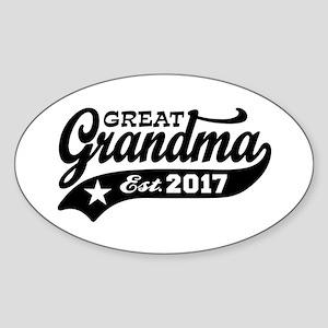 Great Grandma Est. 2017 Sticker (Oval)