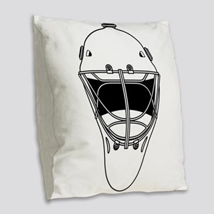 hockey helmet Burlap Throw Pillow