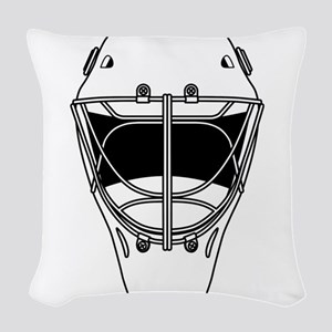 hockey helmet Woven Throw Pillow