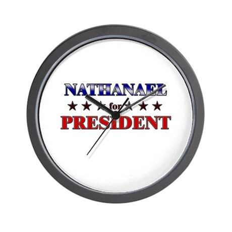 NATHANAEL for president Wall Clock
