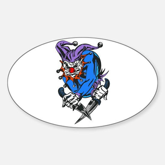 Evil Killer Clown with Knives Oval Decal