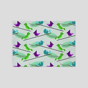 Mid Century Birds 5'x7'Area Rug