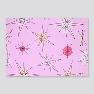 Pink Atomic Era Art 5'x7'Area Rug