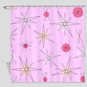 Pink Atomic Era Art Shower Curtain