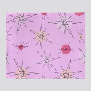 Pink Atomic Era Art Throw Blanket
