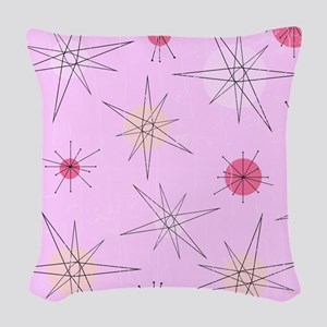 Pink Atomic Era Art Woven Throw Pillow