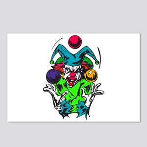 Evil Juggling Jester Clown Postcards (Package of 8
