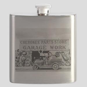 Cherokee Parts Store Vintage Garage Flask