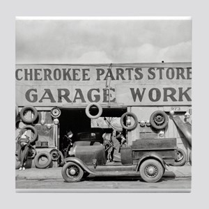 Cherokee Parts Store Vintage Garage Tile Coaster