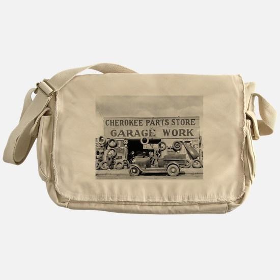Cherokee Parts Store Vintage Garage Messenger Bag
