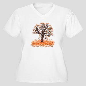 Autumn Leaves Women's Plus Size V-Neck T-Shirt