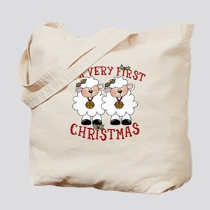 First Christmas Twin Lambs Tote Bag