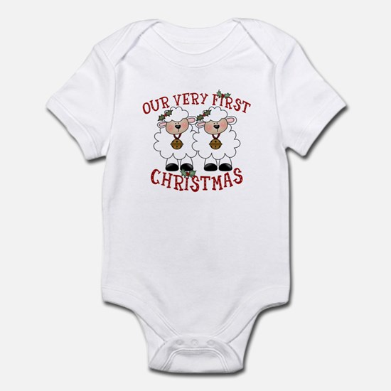 First Christmas Twin Lambs Infant Bodysuit
