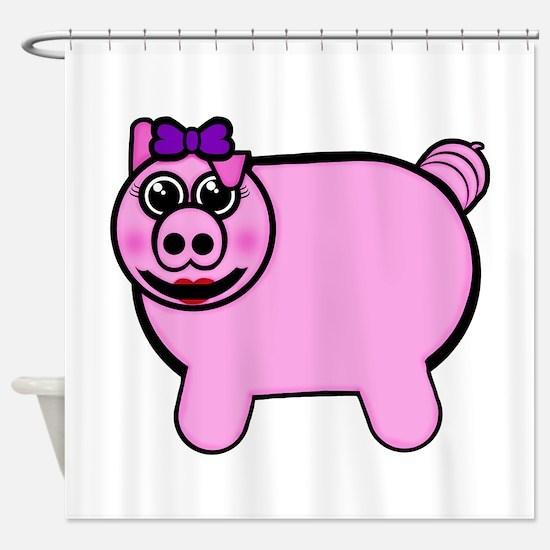 Girly Stuffed Pig Shower Curtain