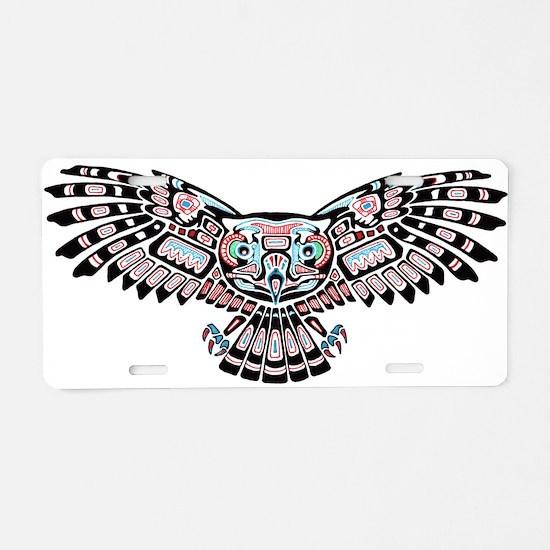 Mystic Owl in Native American Style Aluminum Licen