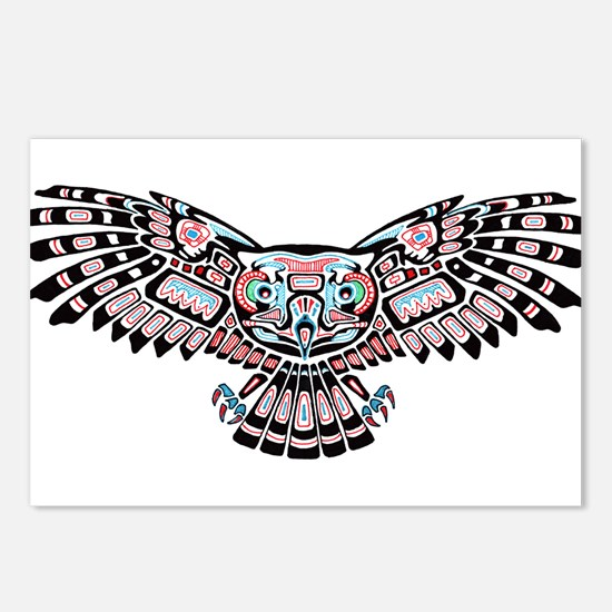 Mystic Owl in Native American Style Postcards (Pac
