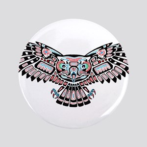 Mystic Owl in Native American Style Button